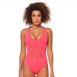 Bleu Rod Beattie V-Neck Mesh X-Back Swimsuit